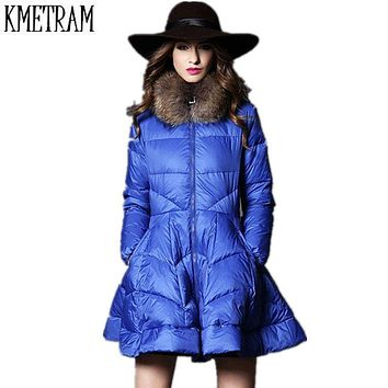Winter Jacket Women Vestidos A-Line Elegant Women's Down Jacket 2017 Hot Fashion Thicken Warm Overcoat Cotton Padded Parka GQ556