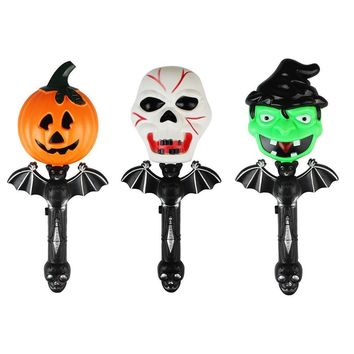 Halloween Decoration Shaking Stick Bat Pumpkin Witch Ghost Screaming Glowing Magic Wand Toys
