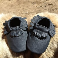 6 - 12 month navy genuine leather baby moccasin, baby moccasin, moccasin, slippers, kids moccasin, toddler moccasin, moccasins