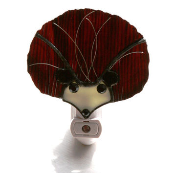 Stained Glass Brown Hedgehog Light Sensor Night Light Kids Room
