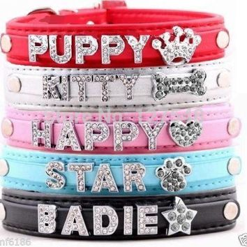 DIY Name Dog Collars Leather Personalized Pet Cat Collars with 10MM Rhinestone Letters Puppy Collar,Size XS,S,M,L