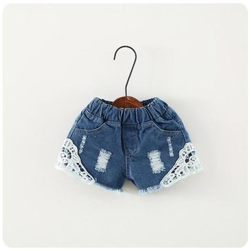 Hot Shorts 2 3 4 5 6 7 8 9 10 11 12 13 14 Year Baby Teens Girls  Pants 2018 Summr Casual Denim Jeans for Girls Lace Children TrousersAT_43_3