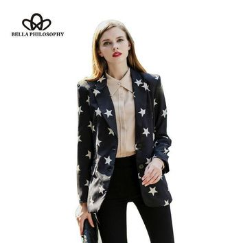 PEAPGB2 2015 autumn winter new five-pointed star print black long blazer jacket coat