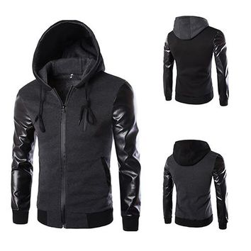 Men Fashion Hooded Pocket Faux Leather Sleeve Jacket