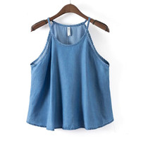 Summer Women's Fashion Denim Camisole Tops [6651191809]
