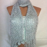 Knitted Shawl, Scarf (Silver), Christmas, gift by Arzu's Style
