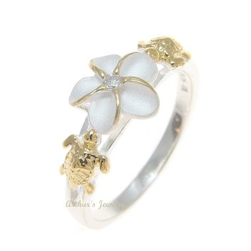 SILVER 925 HAWAIIAN PLUMERIA FLOWER TURTLE RING 2 TONE SIZE 3 - 13