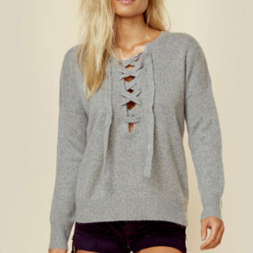 CASHMERE OLYMPIA LACE UP SWEATER