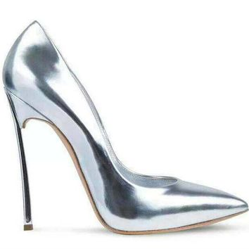 Posh Girl Silver Metal Heel Stiletto Pumps