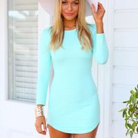 DIXIE DRESS - Mint textured bodycon dress
