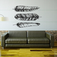 Feathers Wall Decal Vinyl Sticker Native American Decals Nature Wall Art Living Room Bedroom Dorm Bohemian Tribal Pattern Home Decor 0013