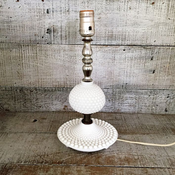 Lamp Mid Century Milk Glass Lamp Glass Lamp Table Lamp Desk Lamp Antique Glass Light White Lamp Cottage Chic Lamp Hobnail Milk Glass Lamp