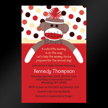 20, 4x6 -- Sweet Sock Monkey Baby Shower or Birthday Invitations -- Custom