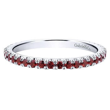 14K White Gold Garnet Stackable Birthstone Ring