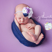 White Navy Purple Headband, Flower Cluster Headband, Big Bow Headband, Newborn Photo Prop, Infant Girl Hair Bows, Baby Girl Fall Hairbands