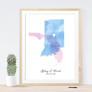 Custom Wedding Map with watercolor, wedding sign custom guest book alternative with your locations