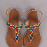 Tribal Braided Slingback Thong Flat Sandal