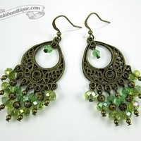 Green chandelier earrings crystal earrings birthstone jewelry boho earrings gypsy dangles long earrings hippie earrings bronze gift for wife