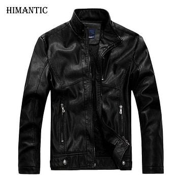 Leather Jacket Men Stand Collar New Men's leather PU Jackets + Locomotive Men's Slim Fit Leather Male Clothing