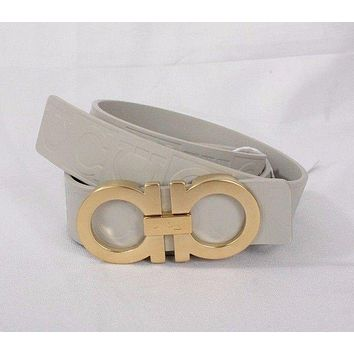 NWT! Salvatore Ferragamo Double Gancio Light Gray New Schiuma Belt Size