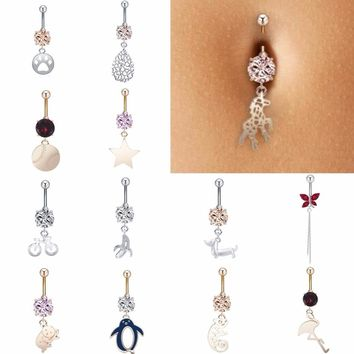 QIAMNI Punk Animal Star Crystal Piercing Sexy Beach Body Jewelry Navel Belly Dangle Button Barbell Rings for Girl Women Gift