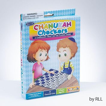Chanukah Checkers Game, 24 Pieces, 1 Game Board, Color Box