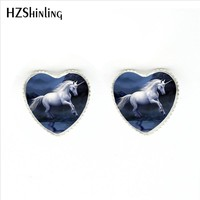 HER-0025 Fantasy Unicorn Heart Earrings Handmade Unicorns Fantasy and Pegasus Photo Stud Earring Glass Dome Jewelry For Women
