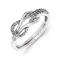 Sterling Silver Diamond Infinity Love Knot Ring