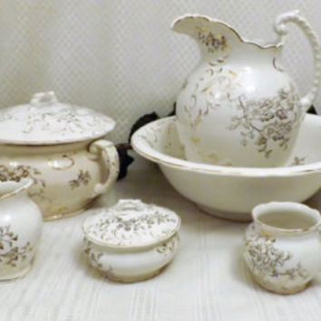 1890s Victorian Dresden Porcelain Wash Bowl Pitcher Chamber Set