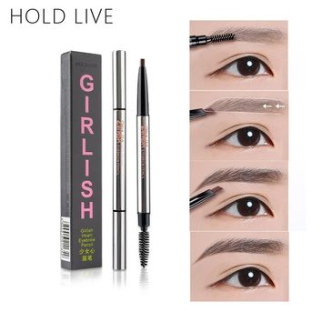HOLD LIVE Makeup Eyebrow Enhancers Long-lasting Automatic Girlish Heart Brown Eyebrow Pencil Liner With Brushes Korean Cosmetics