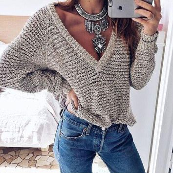 Knit Pullover V-neck Sweater [22395158554]