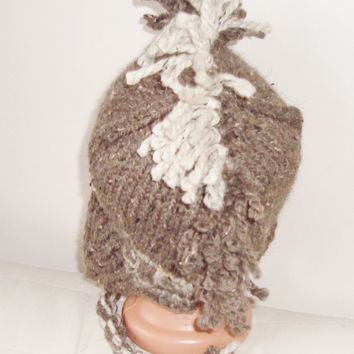 Hand Knitted Hat Mens Hat with Ear Flap in Beige Cream Mohawk Hat Punk Fashion