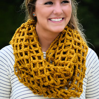 Nothing but Net Infinity Scarf-Mustard