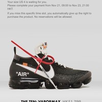 Nike X Off White Virgil Abloh The Ten Vapormax Vapor max US 4/ UK 3.5 Confirmed