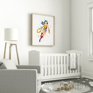 Wonder Woman Watercolor Art Print
