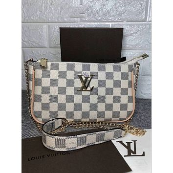 LV 2018 new female models wild fashion shoulder bag chain diagonal female bag white check