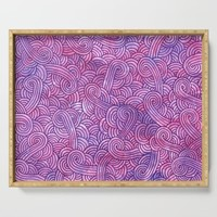Hot pink and purple swirls doodles Serving Tray by savousepate