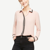 Scallop Trim Blouse | Ann Taylor