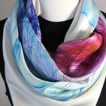 "Silk Satin ""Knots Series 1"" square scarf, silk cravat, unisex scarf, scarves for men"