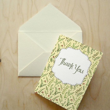 """Thank You Card - Instant Download Floral Card - Art Postcard - Watercolor Painting - 4""""x6"""" Digital Print"""