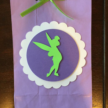 12 Tinkerbell Favor Bags, Princess Party Goodie Bags, Tinkerbell Party Favor Bags, Tinkerbell Party, Tinkerbell Princess Bags