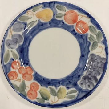Farberware Amalfi Hand Painted Stoneware Blue Border Fruit Salad  Dinner Plates