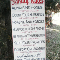 Family Rules Sign, scripture rules, inspirational sign. white.wood sign, primitive sign,wedding gift