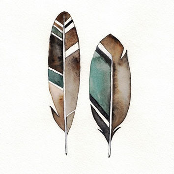No. 7 Feather / Black, Teal, Grey Watercolor Print