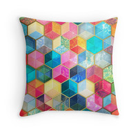 Crystal Bohemian Honeycomb Cubes - colorful hexagon pattern