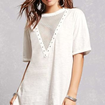 Plunging Netted T-Shirt Dress