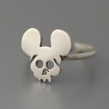 Mickey Skull 925 Sterling Silver Adjustable Ring, mouse silver ring, 925 Sterling silver ring