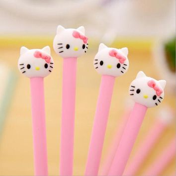 DCCKL72 1 Pieces hello Korean stationery cartoon cute kitty pen advertising pink gilrs gel pen School Fashion Office kawaii supply
