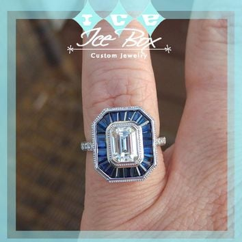 Vintage Art Deco Inspired Engagement Ring - 1ct, 7 x 5mm Emerald Cut Moissanite Set in a 14K White Gold Sapphire and Diamond Setting