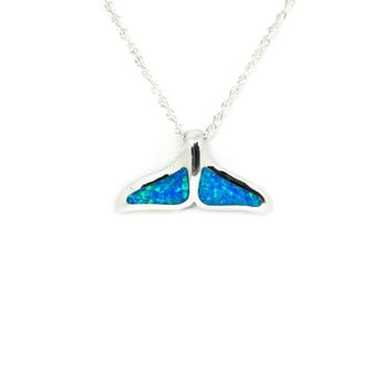 Sterling Silver Blue Opal Mermaid Whale Tail Pendant Necklace